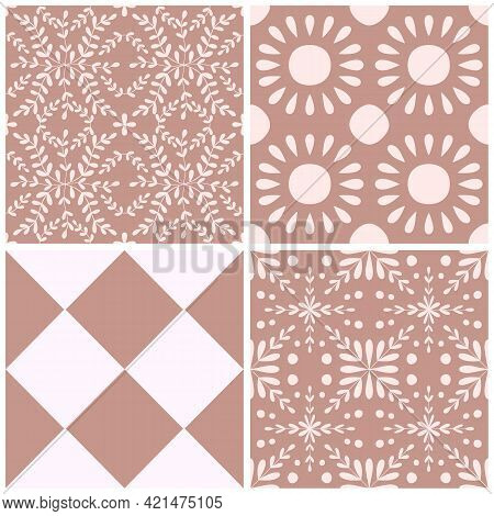 Tile Portugal Flower Seamless Pattern Set. Dusty Rose Color Geometric Background Collection. Traditi