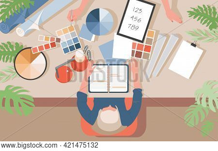 Graphic Designer At Work Vector Flat Illustration. Male Or Female Character Working With Notepad, De
