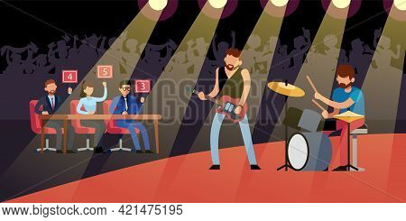 Talent Rock Show. Guitarist And Drummer On Stage, Crowd Of Fans In Hall, Judges Give Marks, Male Mus