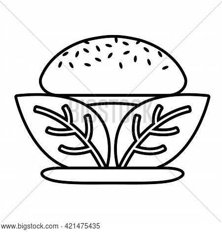 Beyond Meat Vector Black Line Icon. Plant Based Hamburger. Leaves Instead Of Meat Cutlet. Vegan Prod