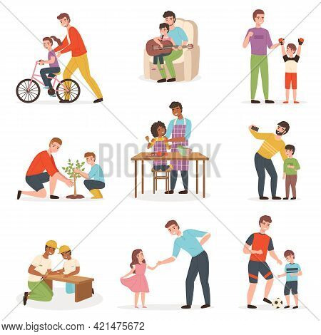 Father Day With Kids. Dad With Children Pastime Collection, Joint Parent And Child Activities, Girls