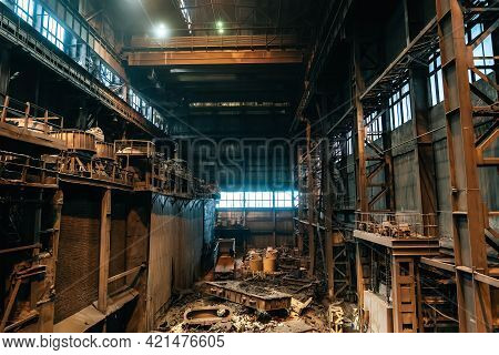 Large Industrial Warehouse Or Hangar Of Foundry With Blast Furnace, Metal Waste.