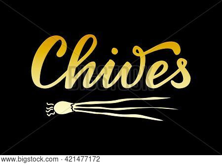 Vector Illustration Of Chives Lettering For Packages, Product Design, Banners, Stickers, Spice Shop