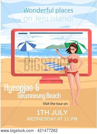 Hyeopjae Geumneung Beach Famous Landmark Of Jeju Island In South Korea, Travel Promotion Poster With