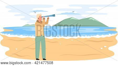 Man With Binoculars Stands On Sandy Beach And Looks At Mountaines In Sea During Travel. Guy With Spy