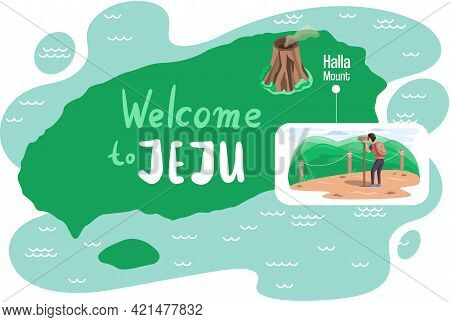 Welcome To Jeju Island In South Korea, Traditional Elements. Layout Of Postcard To Jeju For Tourists