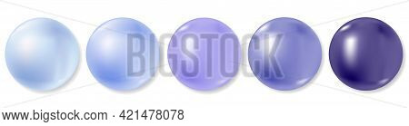 Realistic Sea Pearls Or Purple Blue Beads Collection On White Background. 3d Balls Set, Different Sh