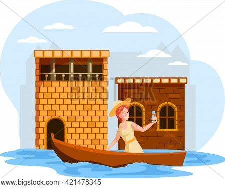 Femafemale Traveler Taking Selfie Sailing On Boat On River In Old Town With Low Brick Ancient Houses