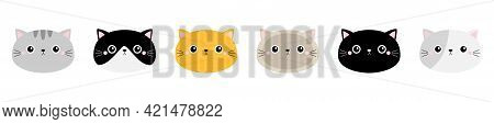 Cute Cat Icon Set Line. Different Breeds. Kitten Face Head Silhouette. Funny Kawaii Cartoon Baby Cha