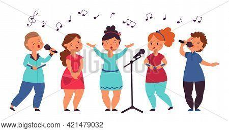 Kids Choir. Cute Singing Kid, Vocal Art Girl Singer. Cartoon Musical Children Concert, Song Show. Is
