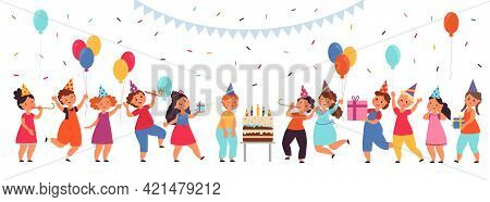 Cartoon Kids On Birthday Party. Boy Celebrating, Cake On Table And Little Children. Event With Sweet