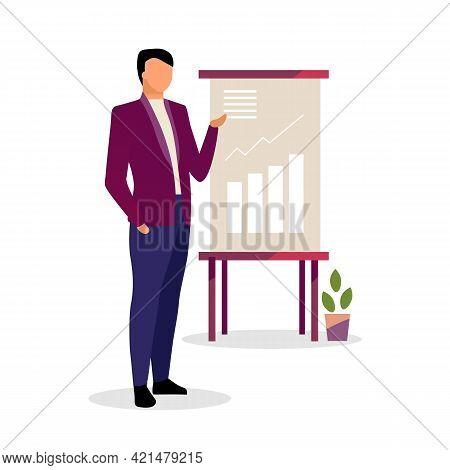 Expert Making Presentation Vector Illustration. Economist, Businessman, Manager Showing Growth Rates