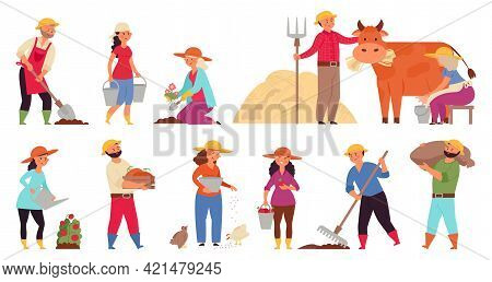 Farmer Characters. Gardening Working Women, Farmers In Village Work. Harvest Seasons, Isolated Agric