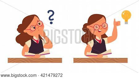 Student Girl Thinking. Young Child Question, Stupid Kid Think And Inspire Thought. New Idea Or Under