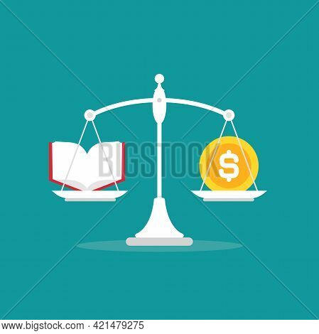 White Mechanical Scales With Dollar Coin And Book In Pans. Education Value, Study Expenses Balance.