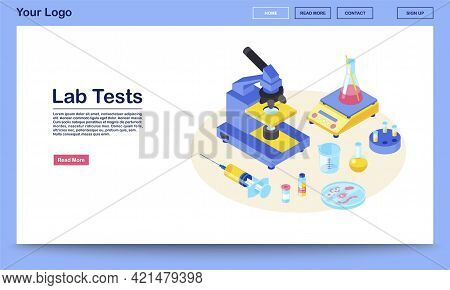 Lab Tests Webpage Vector Template With Isometric Illustration. Medical Analysis. Diagnostic Laborato