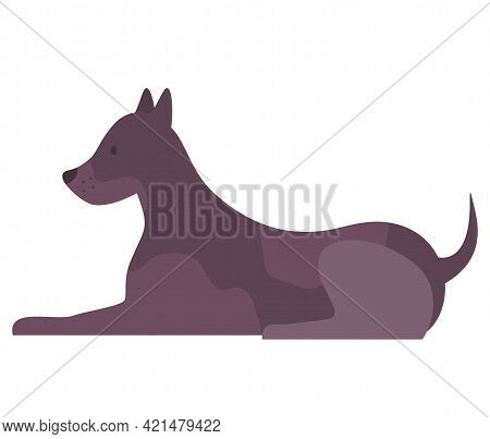 Cute Cartoon Dog With Black Fur Sitting Side View Vector Illustration On White Background. Pet Short