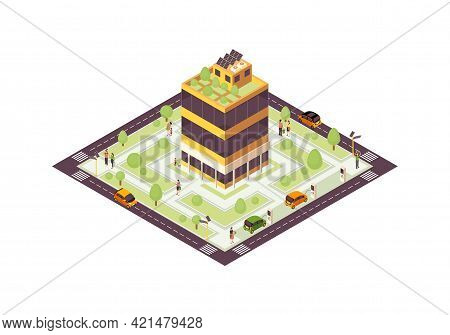 Eco City Isometric Color Vector Illustration. Smart Building With Solar Grid, Trees Infographic. Gre