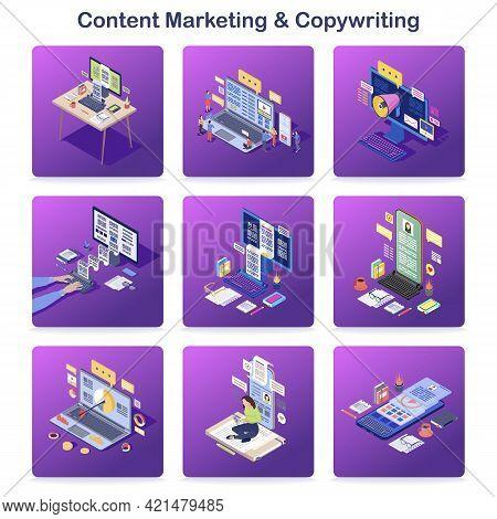 Content Marketing And Copywriting Isometric Concept Icons Set. Inbound Digital Marketing. Pr Campaig