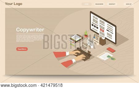 Copywriter Landing Page Vector Template. Content Writer Website Interface With Flat Illustrations. F