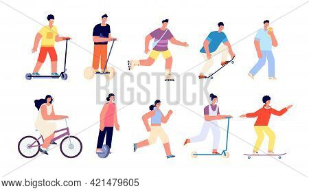 People Summer Walk. Sport Activities, Vacation Outdoor Activity. Woman Running Or Jogging, Healthy C