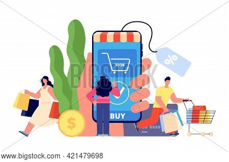 Person Online Shopping. Easy Payment, Shop App Smartphone. Modern Woman Buy, Ecommerce And Delivery.
