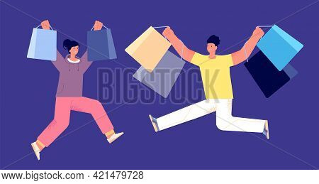 Happy People With Purchase. Guy Shopping, Customer Hold Shop Bags. Ecommerce, Crazy Sales Or Surpris
