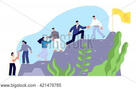 Climb To Success. Startup Leading Partner, Hard Business Climbing Motivation. Successful Steps Of Te