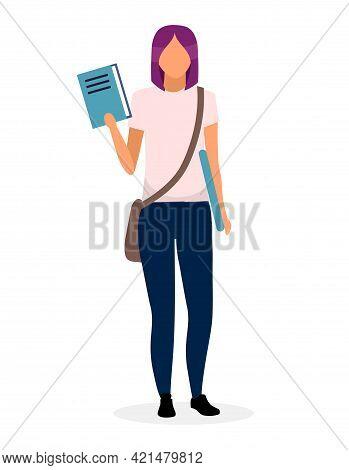 Teenage Schoolgirl With Book Flat Vector Illustration. University, College Student Holding Textbook