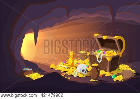 Treasure Cave. Fantasy Game Location, Cartoon Mine With Old Gold Coins In Wooden Chest. Ancient Magi