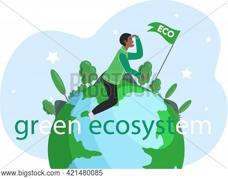 Take Care About Planet. Nature And Ecology Modern Graphic Design Poster. Guy Sitting On Planet And L