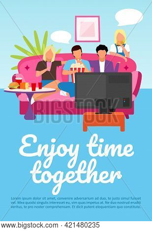 Friends Leisure, Pastime Brochure Template. Enjoy Time Together Lettering. Flyer, Booklet, Leaflet W