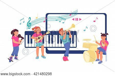 Online Children Music Lessons Concept With Kids Playing Musical Instruments And Singing. Banner For