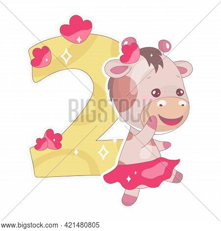 Cute Two Number With Baby Giraffe Cartoon Illustration. School Math Funny Font Symbol And Kawaii Ani