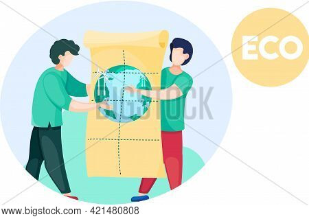 Men Hold Poster About Alternative Sources Of Energy, Solar Panels, Wind Turbine. Green Electricity P