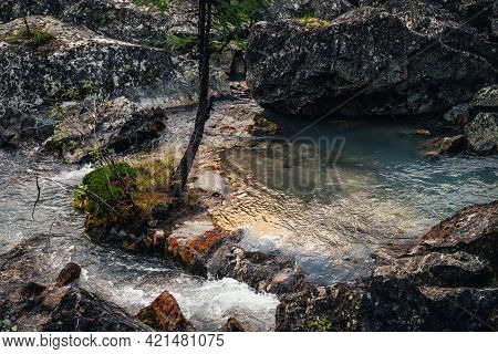 Scenic Nature Landscape With Golden Sunny Shine In Clear Water Stream. Atmospheric Mountain Scenery