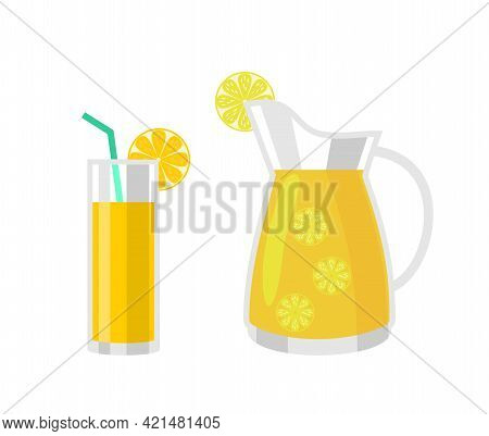 Refreshing Lemonade Illustration. A Glass With Straw And A Jug With Lemons And Ice Cubes. Isolated V