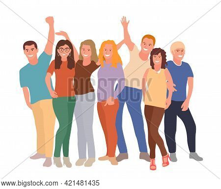 Group Portrait Of Diverse Happy Young People Standing Together And Hugging. Team Of Friends. Friends