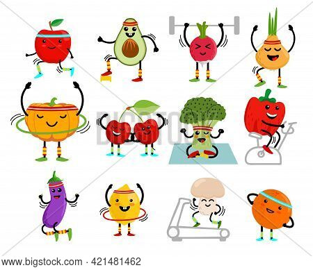 Set Of Cute Fruits And Vegetables Go In For Sports. Fruits And Vegetables Cartoon Characters. Health