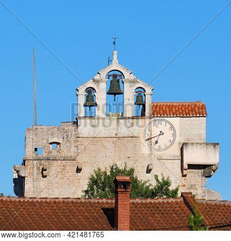 Bell Tower Of Saint Marries Church In Vrboska, Hvar, Croatia