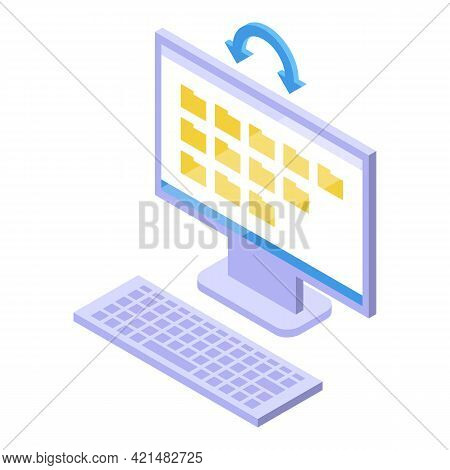 Computer Backup Icon. Isometric Of Computer Backup Vector Icon For Web Design Isolated On White Back