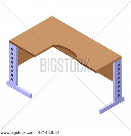 Ergonomic Corner Table Icon. Isometric Of Ergonomic Corner Table Vector Icon For Web Design Isolated