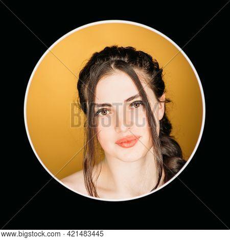 Shy Woman Portrait. Positive Attitude. Feminine Beauty. Headshot Of Relaxed Smiling Candid Brunette