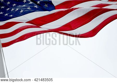 American Flag Fluttering In The Air On The Holidays