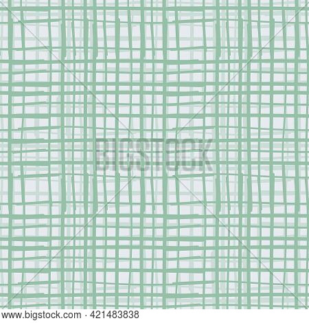 Vector Mint Seamless Pattern Geometric Background With Tapestry Vertical And Horizontal Stripes, Lin