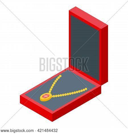 Necklace Jewelry Dummy Icon. Isometric Of Necklace Jewelry Dummy Vector Icon For Web Design Isolated