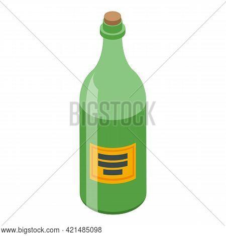 Bar Counter Wine Bottle Icon. Isometric Of Bar Counter Wine Bottle Vector Icon For Web Design Isolat