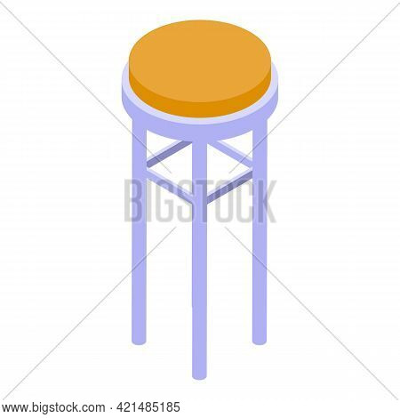 Bar Counter Round Chair Icon. Isometric Of Bar Counter Round Chair Vector Icon For Web Design Isolat