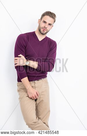 Male Fashion Model Wear Comfortable Clothes In Casual Style Isolated On White, Vogue