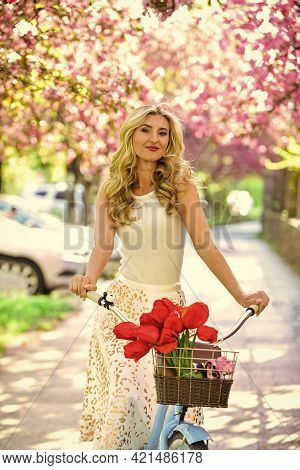 Travel Concept. Riding Bicycle. Girl And Sakura Blossom. Cycling Tours. Bike Ride Adventure. Urban E